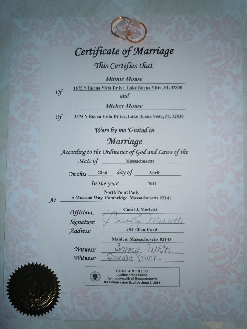 Sample of a Formal Wedding Certificate