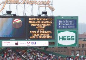Mom's 86th Birthday present ~ A message on Fenway's Jumbo Tron 9/14/2008
