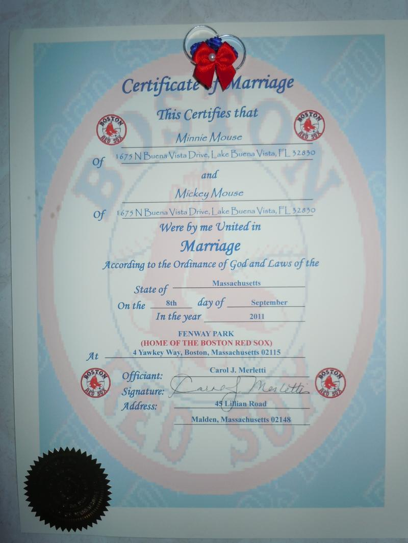 Sample of Fenway Park ~ Red Sox Wedding Certificate